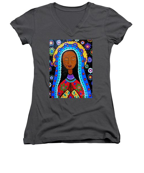 Our Lady Of Guadalupe Women's V-Neck T-Shirt (Junior Cut) by Pristine Cartera Turkus