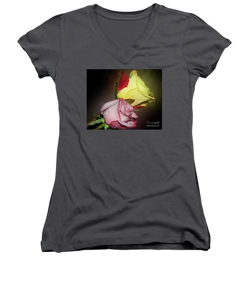 Women's V-Neck T-Shirt (Junior Cut) featuring the photograph Roses by Elvira Ladocki
