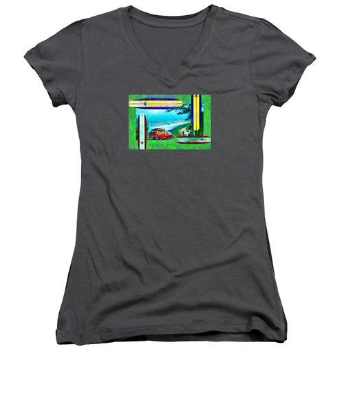 60's Surfing Women's V-Neck T-Shirt
