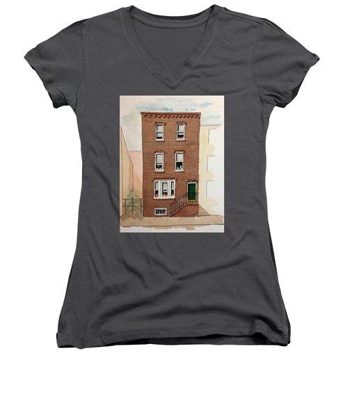 615 South Delhi St. Women's V-Neck T-Shirt (Junior Cut) by William Renzulli
