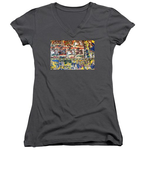 Ancient Orthodox Church Interior Painted Walls In Gondar Ethiopi Women's V-Neck (Athletic Fit)