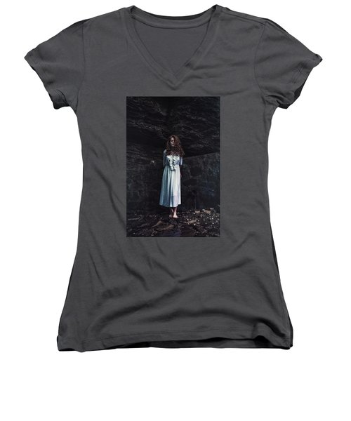 Women's V-Neck T-Shirt (Junior Cut) featuring the photograph Aretusa by Traven Milovich