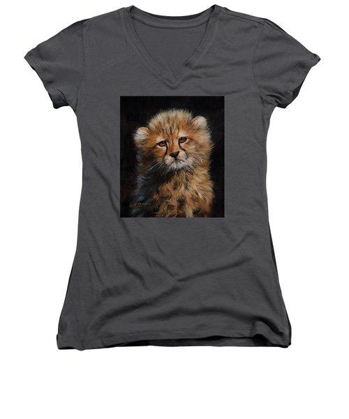 Cheetah Cub Women's V-Neck T-Shirt (Junior Cut) by David Stribbling