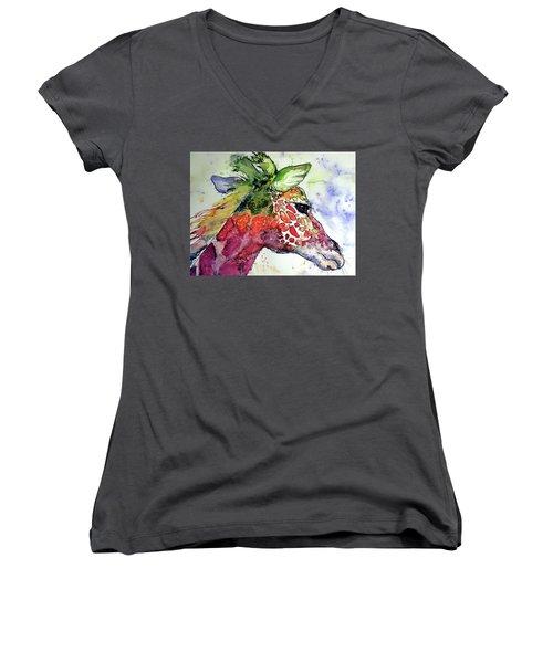 Women's V-Neck T-Shirt (Junior Cut) featuring the painting Giraffe  by Kovacs Anna Brigitta