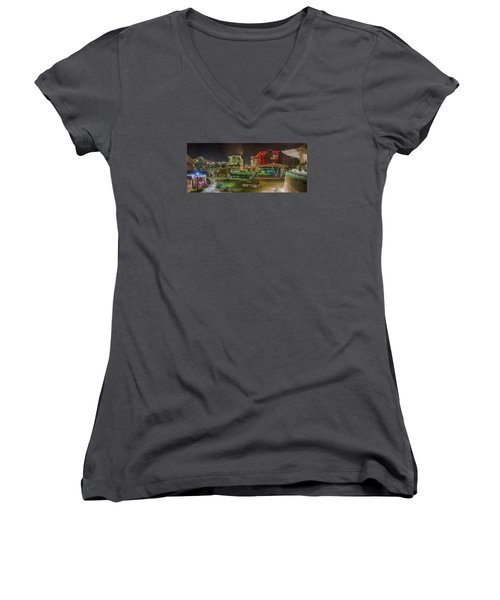 Greenville South Carolina Near Falls Park River Walk At Nigth. Women's V-Neck
