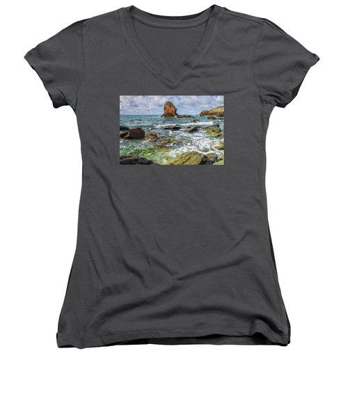Gwenfaens Pillar Women's V-Neck T-Shirt (Junior Cut) by Ian Mitchell