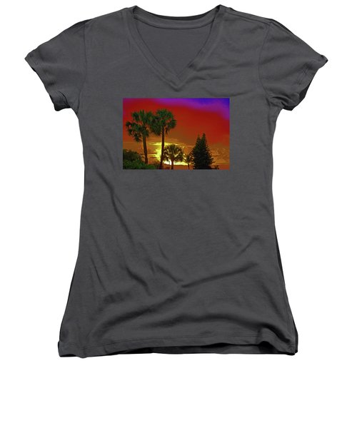 Women's V-Neck T-Shirt (Junior Cut) featuring the digital art 7- Holiday by Joseph Keane