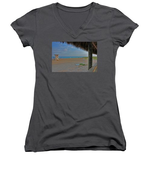 Women's V-Neck T-Shirt (Junior Cut) featuring the photograph 7- Southern Beach by Joseph Keane