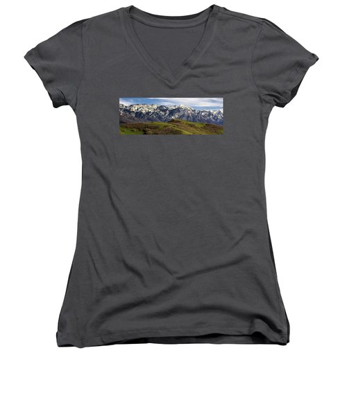 Wasatch Mountains Women's V-Neck T-Shirt (Junior Cut) by Utah Images