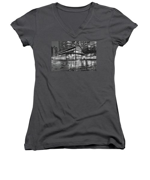 72nd Street Subway Station Bw Women's V-Neck T-Shirt (Junior Cut) by Jerry Fornarotto