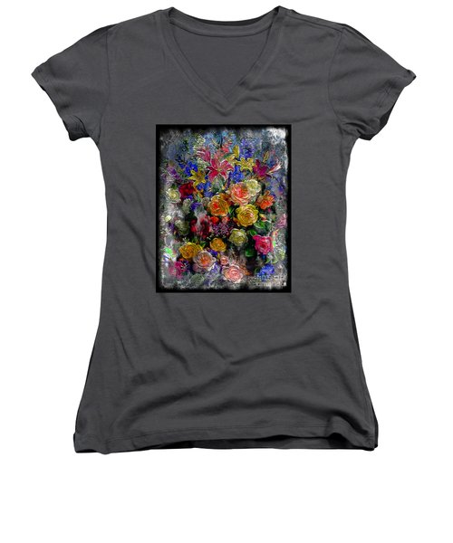 7a Abstract Floral Painting Digital Expressionism Women's V-Neck