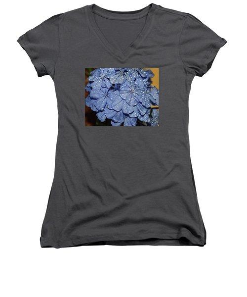 Blue Plumbago Women's V-Neck T-Shirt (Junior Cut) by Elvira Ladocki