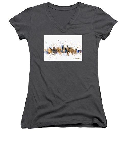 Women's V-Neck T-Shirt (Junior Cut) featuring the digital art Richmond Virginia Skyline by Michael Tompsett