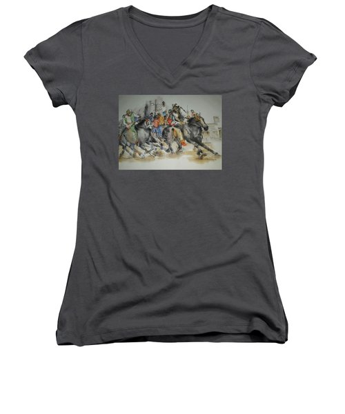Women's V-Neck T-Shirt (Junior Cut) featuring the painting Siena And Their Palio Album by Debbi Saccomanno Chan