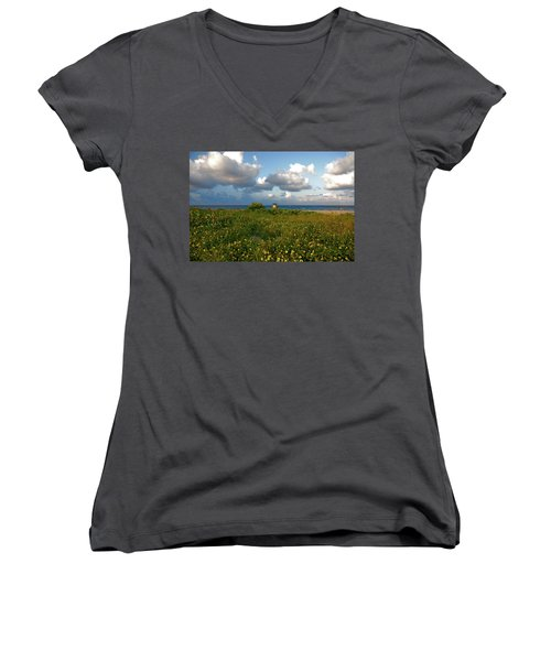 Women's V-Neck T-Shirt (Junior Cut) featuring the photograph 8- Sunflowers In Paradise by Joseph Keane