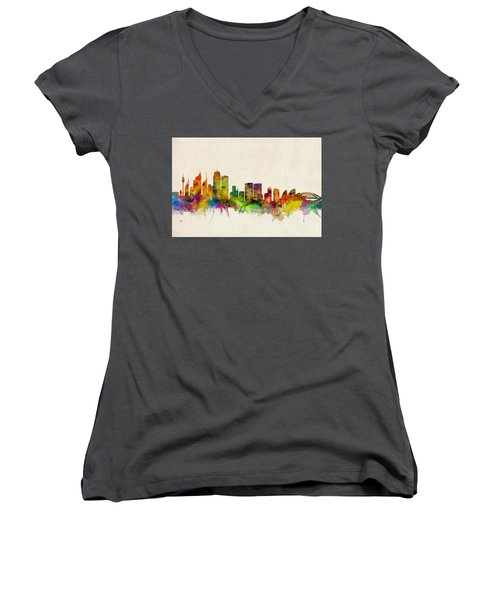 Sydney Australia Skyline Women's V-Neck T-Shirt (Junior Cut) by Michael Tompsett