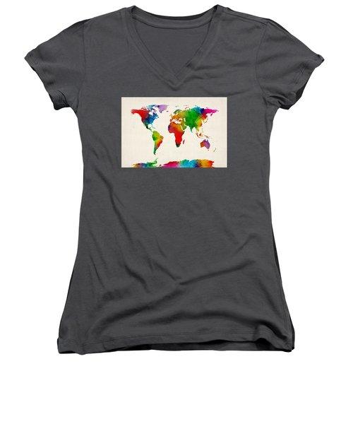Women's V-Neck T-Shirt (Junior Cut) featuring the digital art Watercolor Map Of The World Map by Michael Tompsett