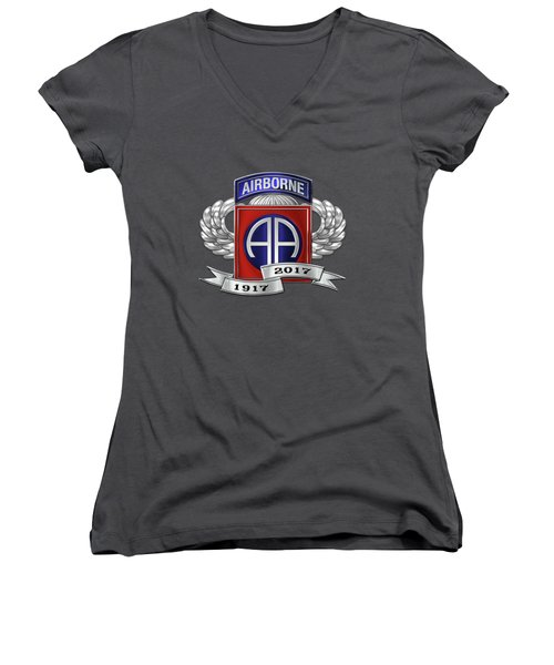 Women's V-Neck T-Shirt (Junior Cut) featuring the digital art 82nd Airborne Division 100th Anniversary Insignia Over Blue Velvet by Serge Averbukh