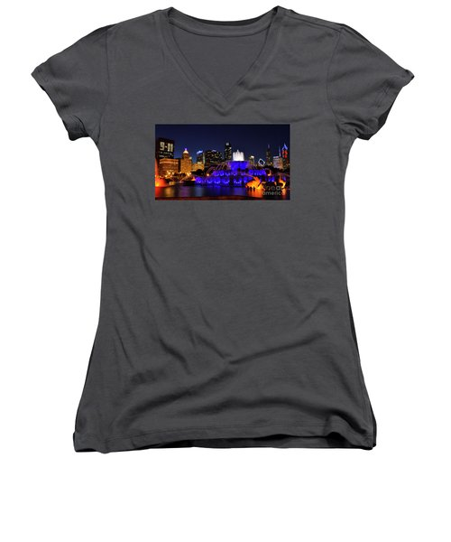 911 Tribute At Buckingham Fountain, Chicago Women's V-Neck T-Shirt (Junior Cut) by Zawhaus Photography
