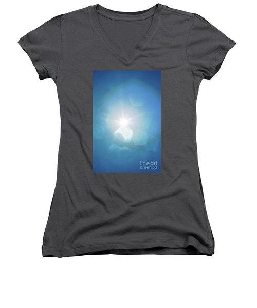 Women's V-Neck T-Shirt (Junior Cut) featuring the photograph Abstract Sunlight by Atiketta Sangasaeng