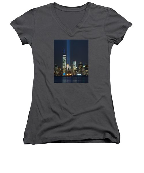 9.11.2015 Tribute In Light Women's V-Neck T-Shirt (Junior Cut) by Kenneth Cole