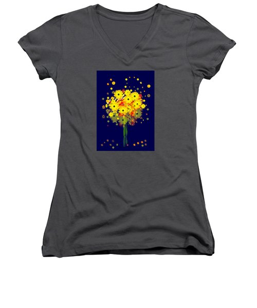 952 - Summer Flowers  Yellow ... Women's V-Neck T-Shirt (Junior Cut) by Irmgard Schoendorf Welch