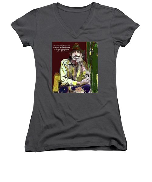 Motivational Quotes Women's V-Neck T-Shirt (Junior Cut) by Charles Shoup