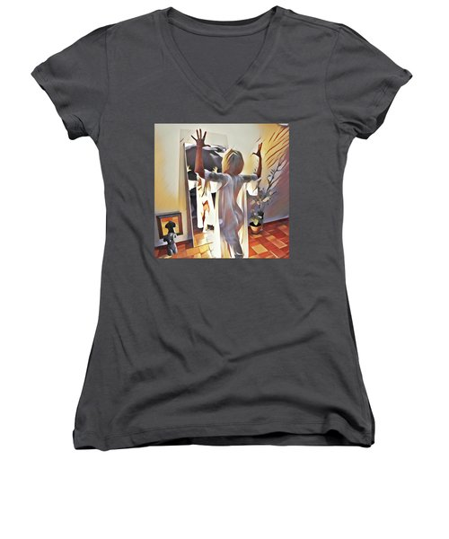 9906s-dm Woman Confronts Herself In Mirror Women's V-Neck