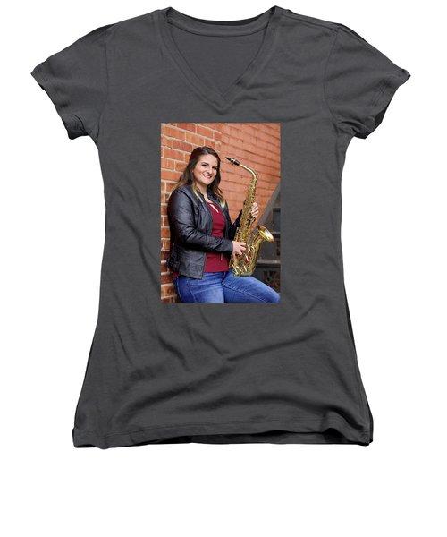 9g5a9450_e Women's V-Neck T-Shirt (Junior Cut) by Sylvia Thornton