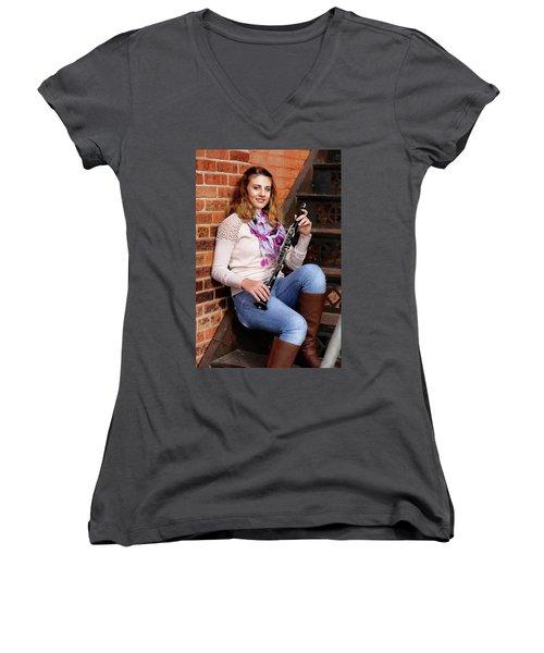9g5a9481_e_pp Women's V-Neck T-Shirt (Junior Cut) by Sylvia Thornton