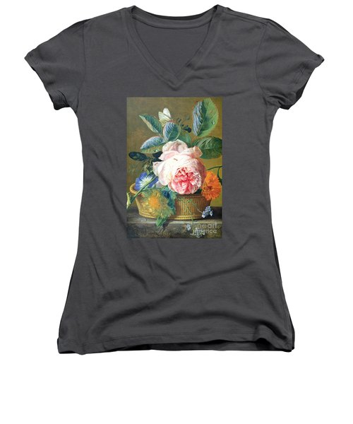 A Basket With Flowers Women's V-Neck T-Shirt