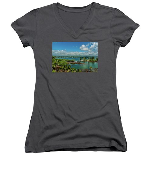 A Beautiful Day Over Hilo Bay Women's V-Neck T-Shirt