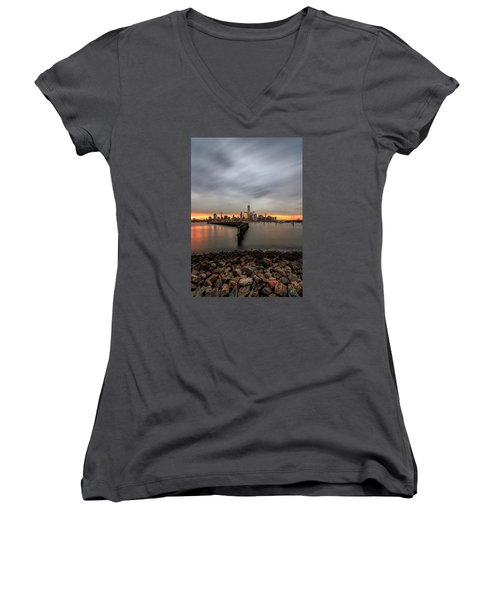 A Beautiful Morning  Women's V-Neck T-Shirt (Junior Cut) by Anthony Fields