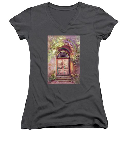 Women's V-Neck T-Shirt (Junior Cut) featuring the digital art A Beautiful Mystery by Lois Bryan