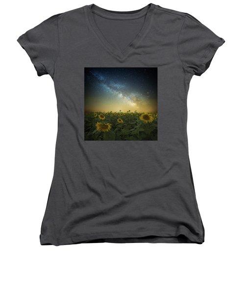 A Billion Suns Women's V-Neck T-Shirt (Junior Cut) by Aaron J Groen