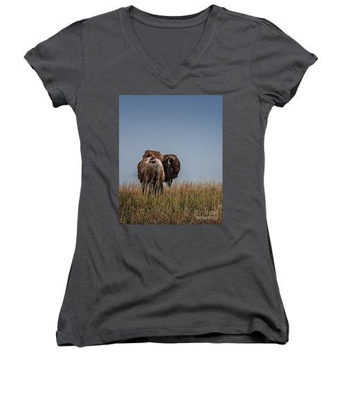 A Bison Interrupted II Women's V-Neck T-Shirt