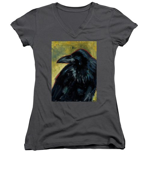 Women's V-Neck T-Shirt (Junior Cut) featuring the painting A Black Tie Affair by Billie Colson
