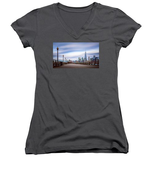 A Boardwalk In The City Women's V-Neck T-Shirt (Junior Cut) by Eduard Moldoveanu