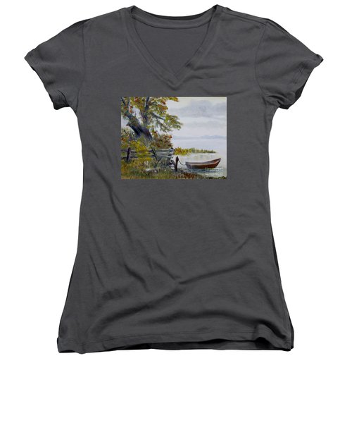 Women's V-Neck T-Shirt (Junior Cut) featuring the painting A Boat Waiting by Marilyn  McNish