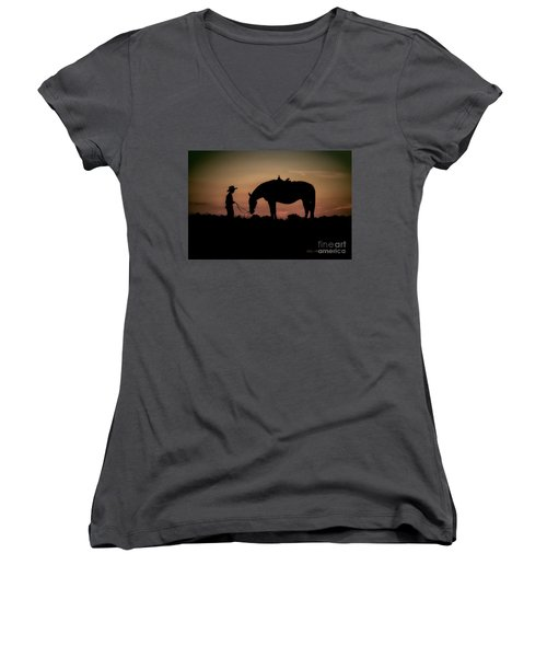 A Boy And His Horse Women's V-Neck T-Shirt (Junior Cut) by Linda Blair