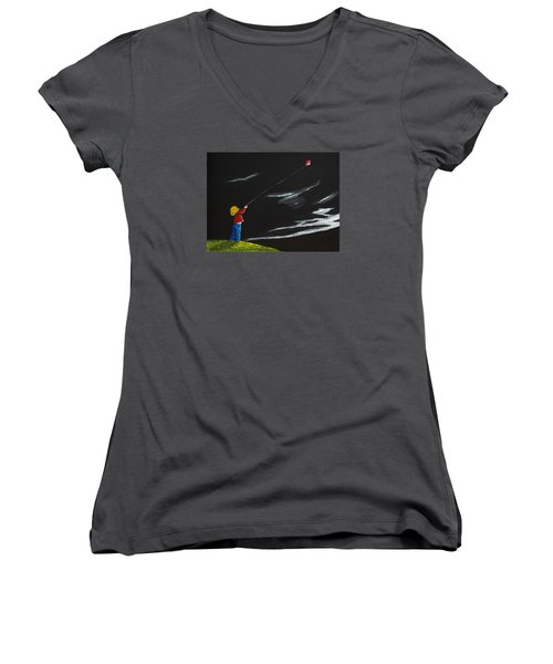 A Braw Night For Flight Women's V-Neck T-Shirt (Junior Cut) by Scott Wilmot