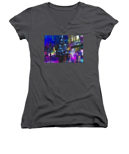 Women's V-Neck T-Shirt (Junior Cut) featuring the photograph A Bright And Colourful Christmas by LemonArt Photography