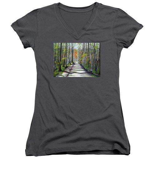 A Bright Autumn Day  Women's V-Neck T-Shirt
