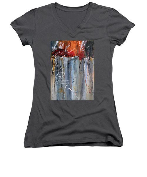 A Burning Issue Women's V-Neck T-Shirt (Junior Cut) by Nancy Jolley