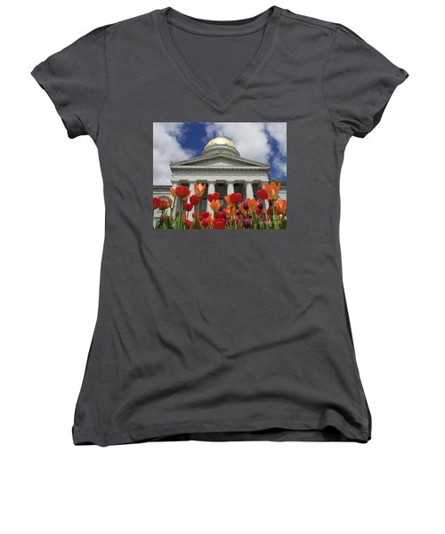 A Capitol Day Women's V-Neck T-Shirt (Junior Cut) by Alice Mainville