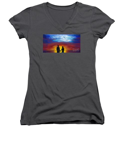 Women's V-Neck T-Shirt featuring the painting A Captivating Love by Leslie Allen