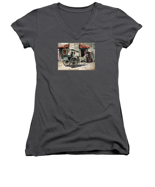 A Carriage On Crisologo Street Women's V-Neck T-Shirt (Junior Cut) by Joey Agbayani