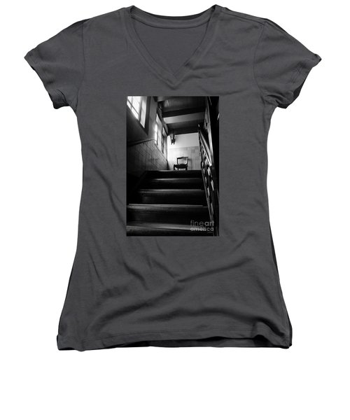 A Chair At The Top Of The Stairway Bw Women's V-Neck T-Shirt (Junior Cut) by RicardMN Photography