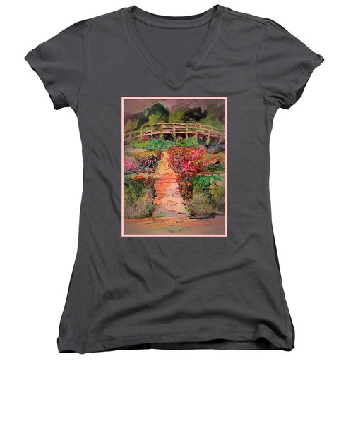 A Charming Path Women's V-Neck T-Shirt (Junior Cut) by Mindy Newman