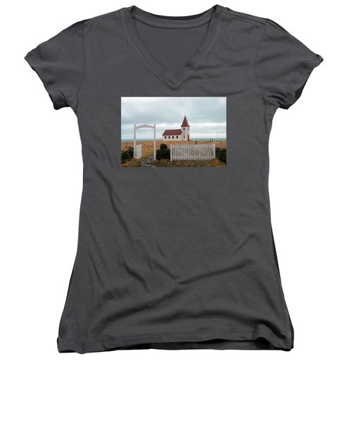 Women's V-Neck T-Shirt featuring the photograph A Church With No Fence by Dubi Roman